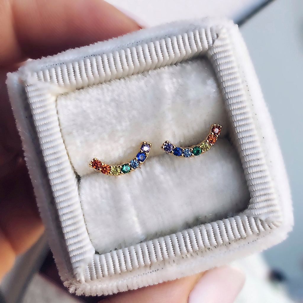 Rainbow Arc Stud Earrings - earrings - Tai Jewelry local eclectic