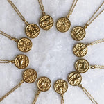14K Gold Vermeil Aquarius Horoscope Pendant Necklace - necklaces - Carrie Elizabeth Jewelry local eclectic