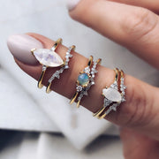Marquise Moonstone and Trio Diamond Ring - rings - Carrie Elizabeth Jewelry local eclectic