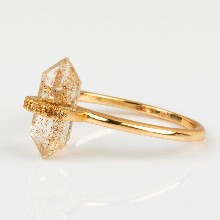 Quartz Stone Champagne CZ Open Band Modern Yellow Gold Ring