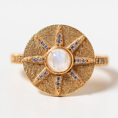 stargazer ring with moonstone cz statement yellow gold ring