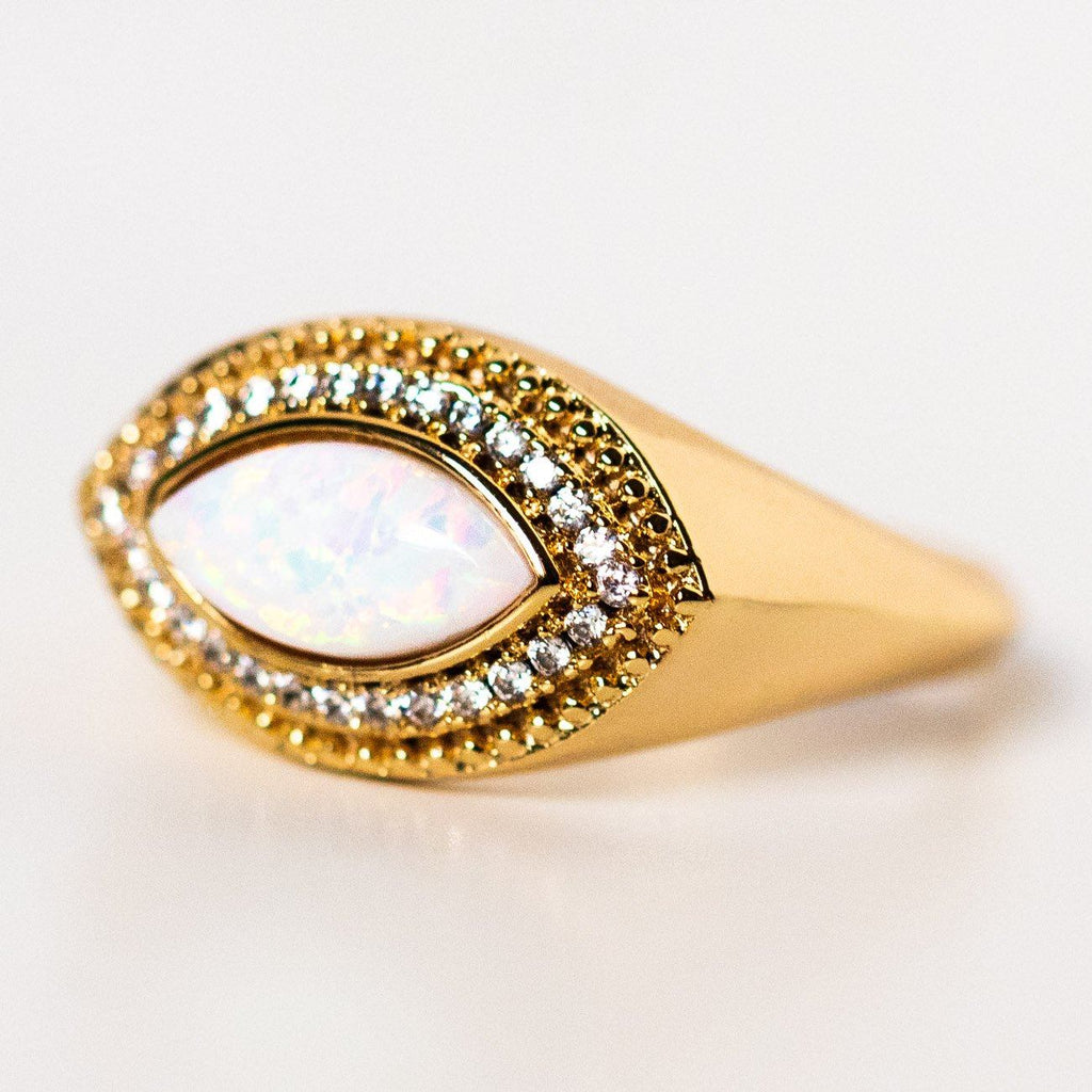 vieux ring with opal cz statement yellow gold chunky ring