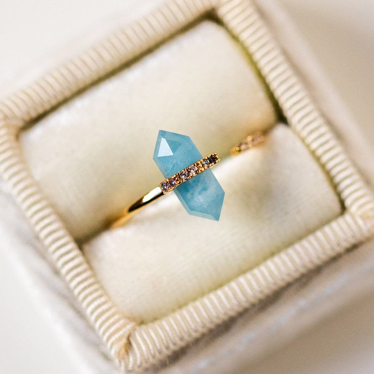 nouveau ring with aquamarine unique yellow gold statement ring