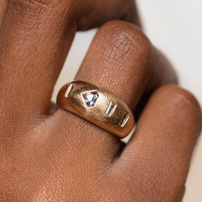 Goldie Ring yellow gold modern statement brushed metal jewelry