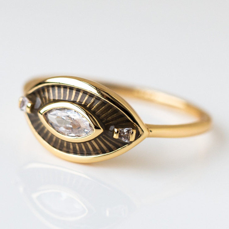 Siren Ring in Olive evil eye yellow gold modern minimal jewelry