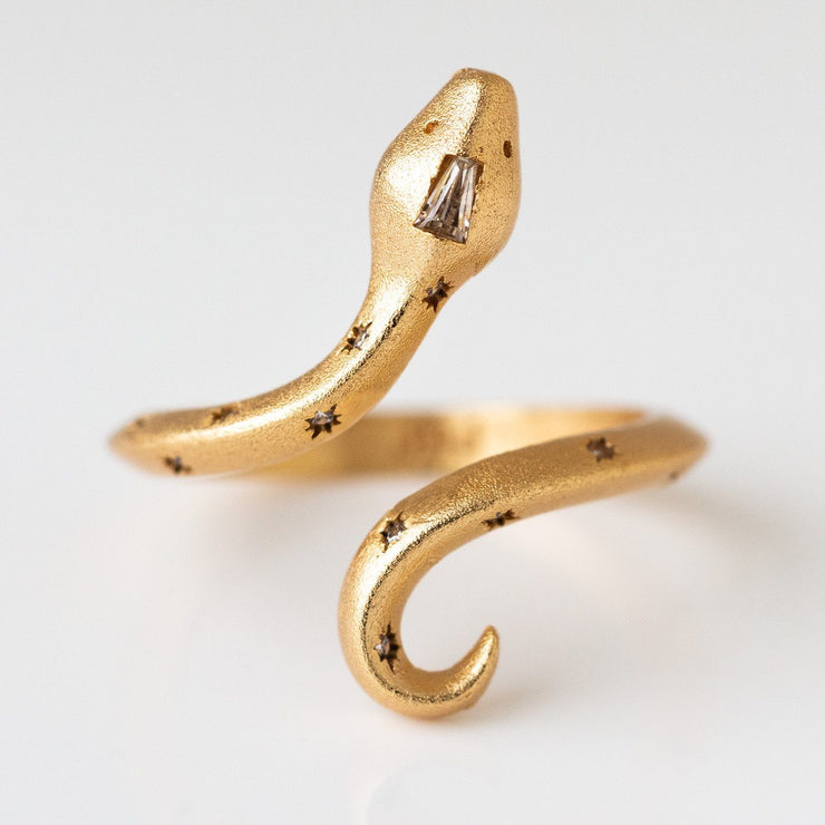 Guardian Ring snake design jewelry modern yellow gold celestial