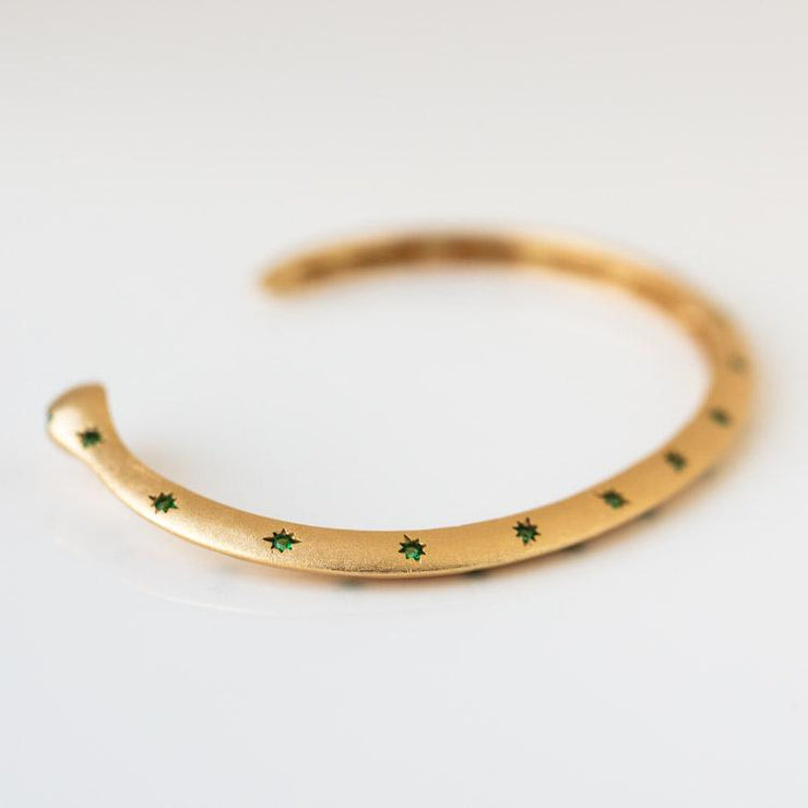 Guardian Cuff in Green unique dainty yellow gold emerald jewelry snake inspired