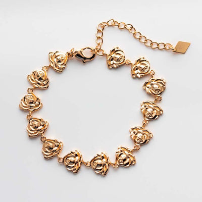 Rosa Tennis Bracelet yellow gold floral inspired minimal jewelry