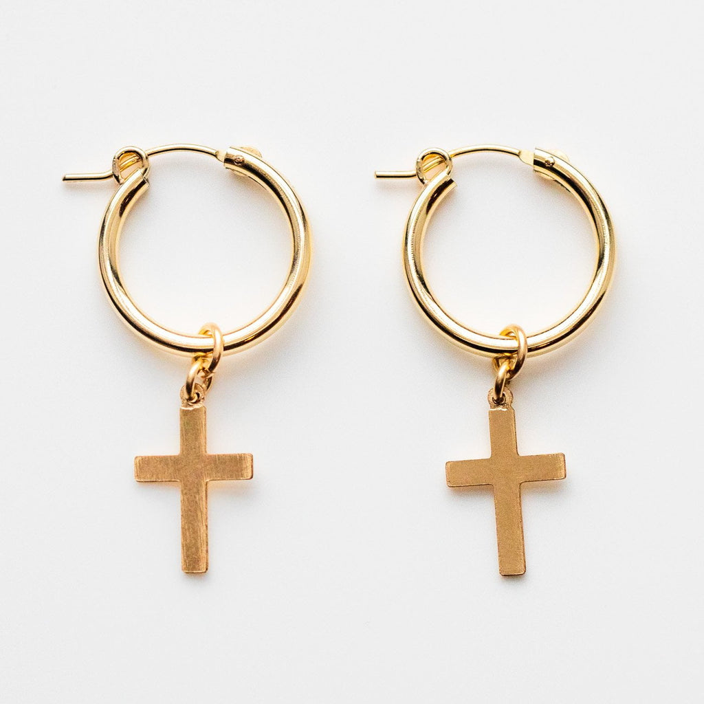 Yellow Gold Cross Hoop Earrings Joy Dravecky Minimal Jewelry