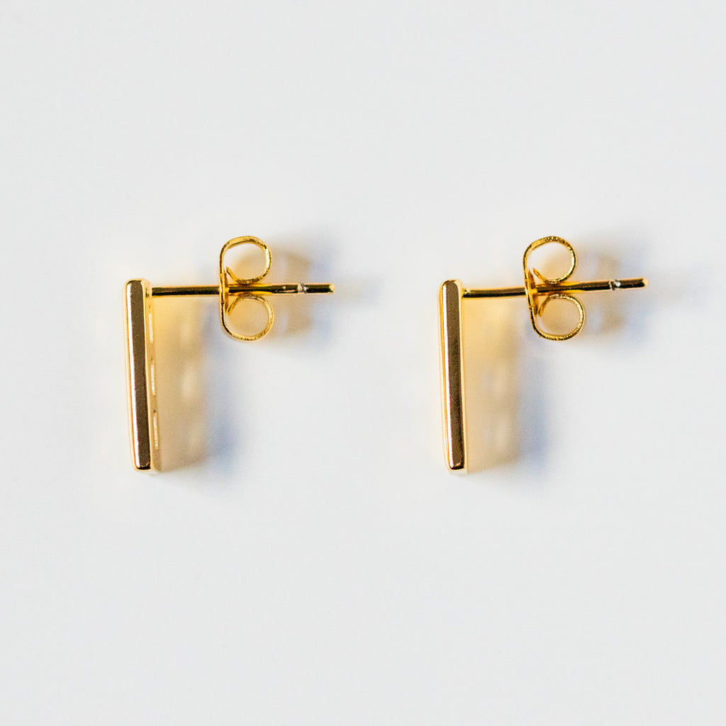 baguette stud earrings unique statement yellow gold cz studs