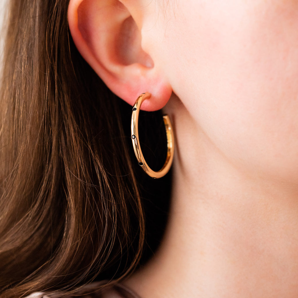 ultimate midi hoop earrings in black yellow gold simple hoops