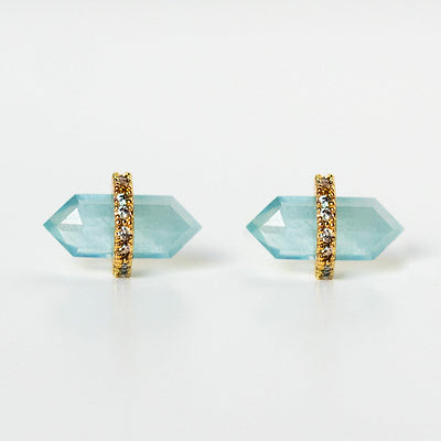 aquamarine stud earrings unique statement blue studs yellow gold jewelry