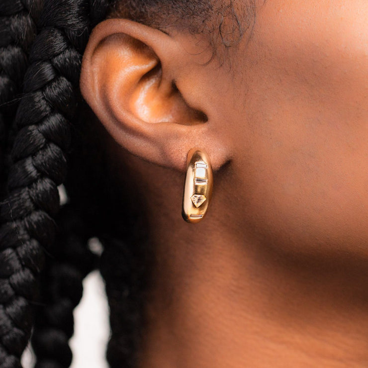 Goldie Hoop Earrings unique statement brushed metal hoops