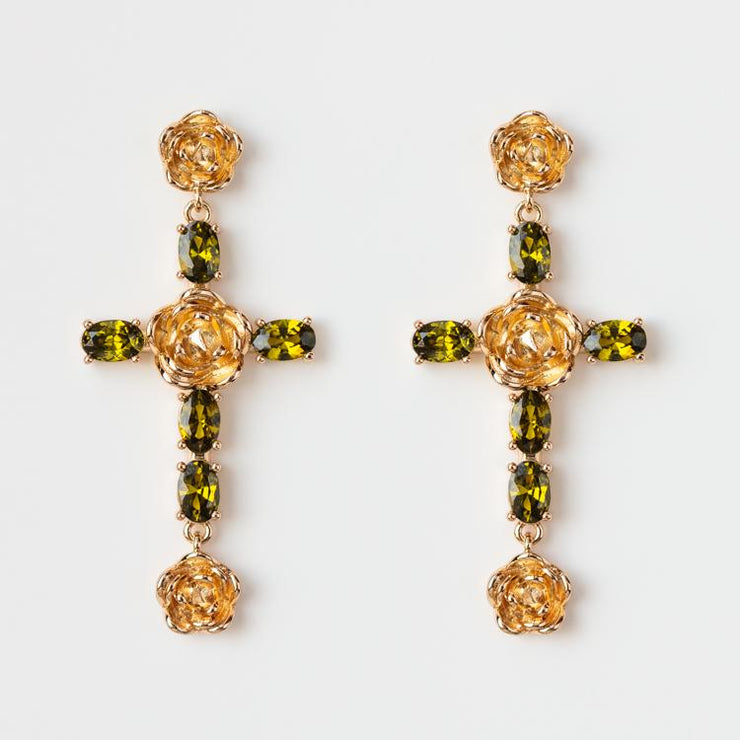 Rosa Cross Earrings in Green unique statement floral inspired yellow gold jewelry