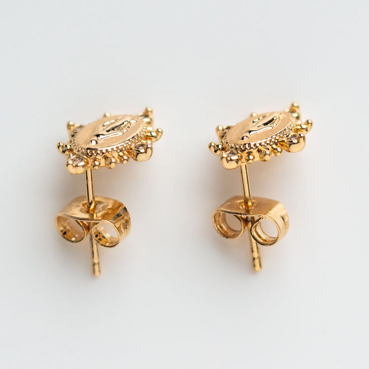 Lady Lourdes Stud Earrings in Gold yellow gold religious inspired minimal jewelry