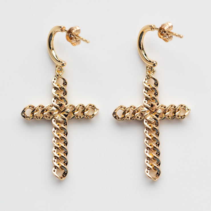 Utopia Cross Earrings yellow gold statement religious inspired jewelry