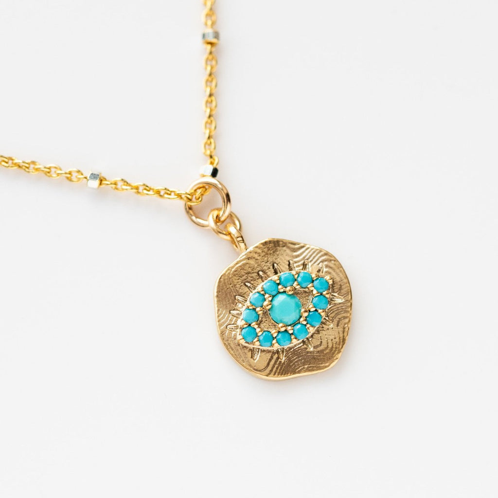 Local Eclectic - Gold Filled Turquoise Evil Eye Necklace - Joy Dravecky