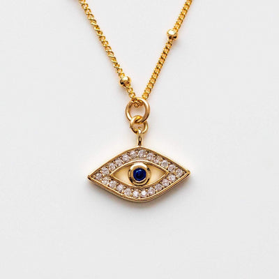 Blue CZ Gaze Eye Pendant Necklace Beaded Yellow Gold Chain Joy Dravecky