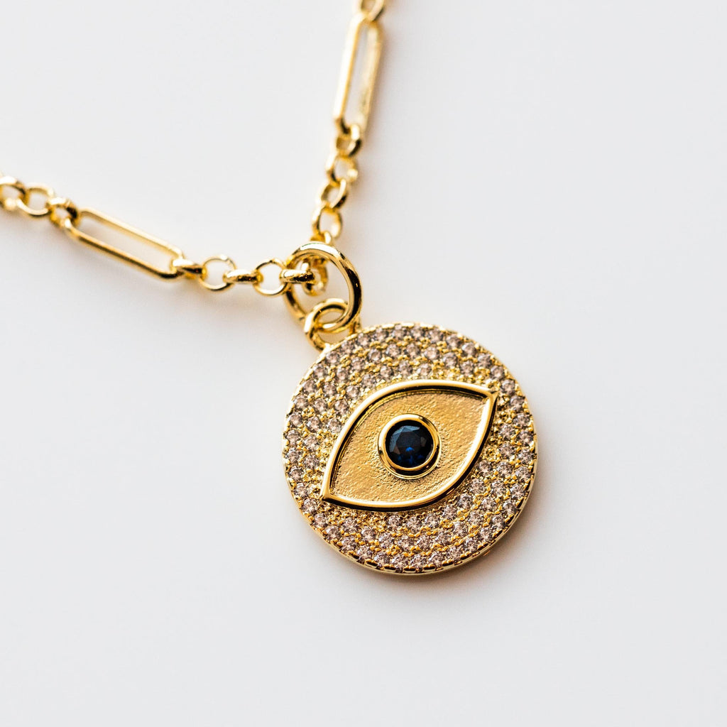 Gaze Eye Pendant Blue Sapphire Yellow Gold Pendant Necklace