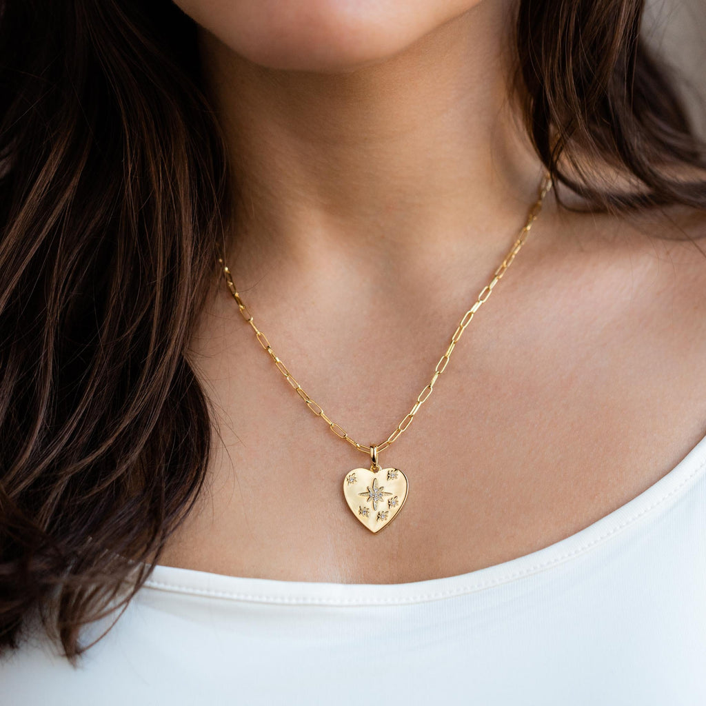 Yellow Gold CZ Heart Shaped Necklace Joy Dravecky Celestial Jewelry