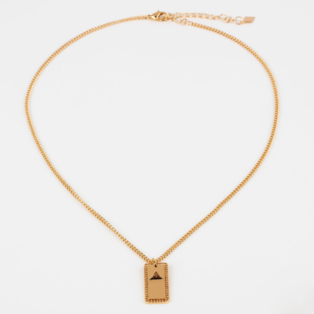 Champagne CZ Trillion Cut CZ Yellow Gold Necklace Pendant Joy Dravecky