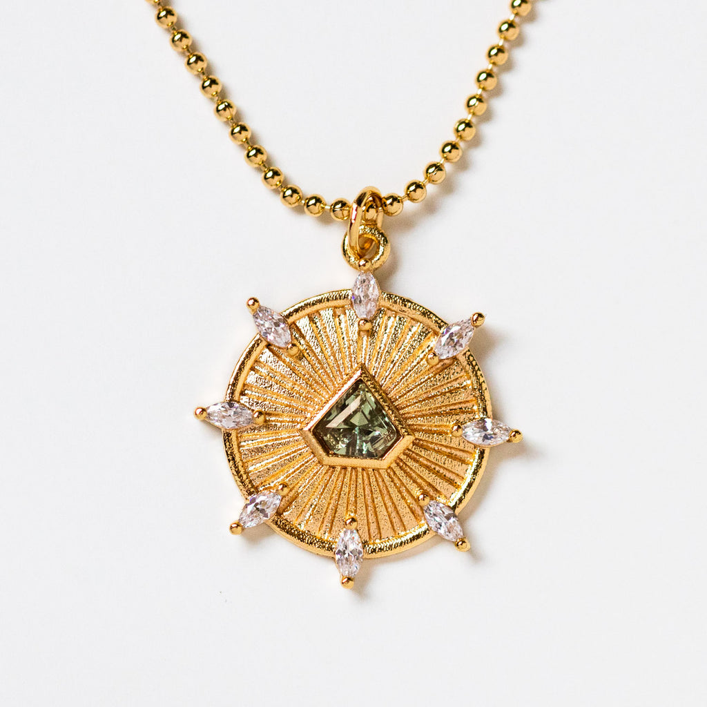 indio dreamcatcher necklace pendant in green unique yellow gold jewelry