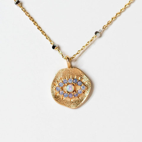 daydreamer evil eye necklace pendant with opal unique yellow gold jewelry