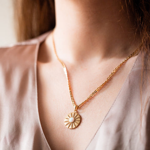 opal stargazer necklace unique yellow gold celestial pendant