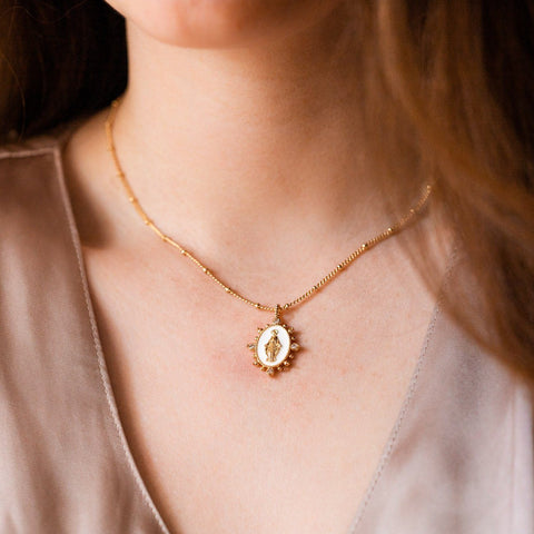 lady lourdes pendant necklace in white yellow gold unique jewelry
