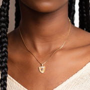 Goldie Shield Necklace unique modern dainty yellow gold jewelry