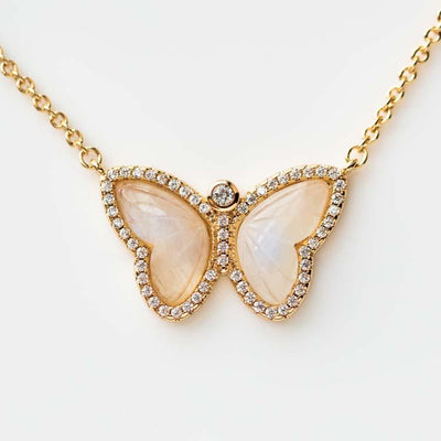 The Allure Butterfly Pendant Necklace unique yellow gold nature inspired moonstone necklace