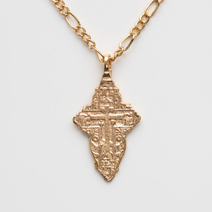 The Antiquity Cross Necklace minimal modern yellow gold religious inspired jewelry