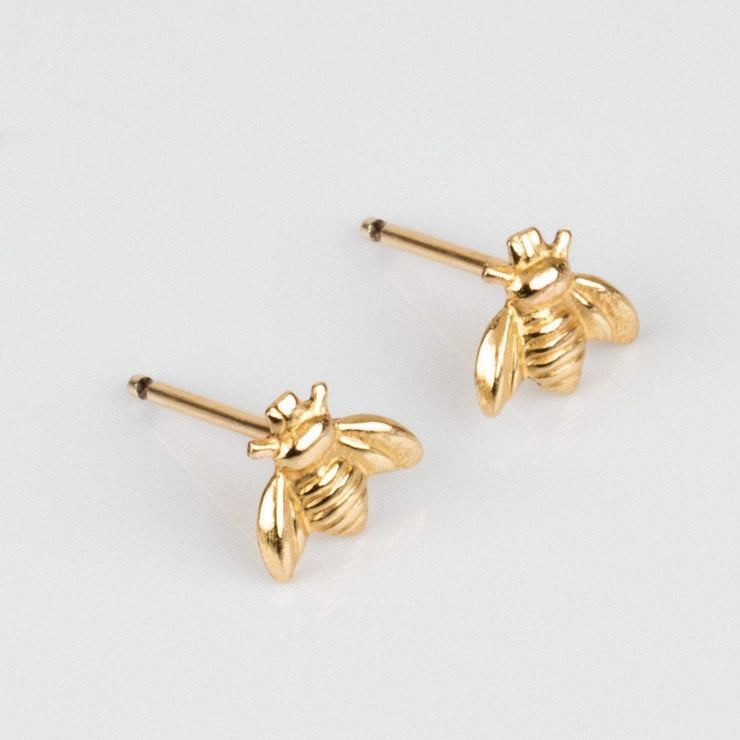 Yellow Gold Honey Bee Stud Earring Dainty Bumblebee Jewelry Jurate