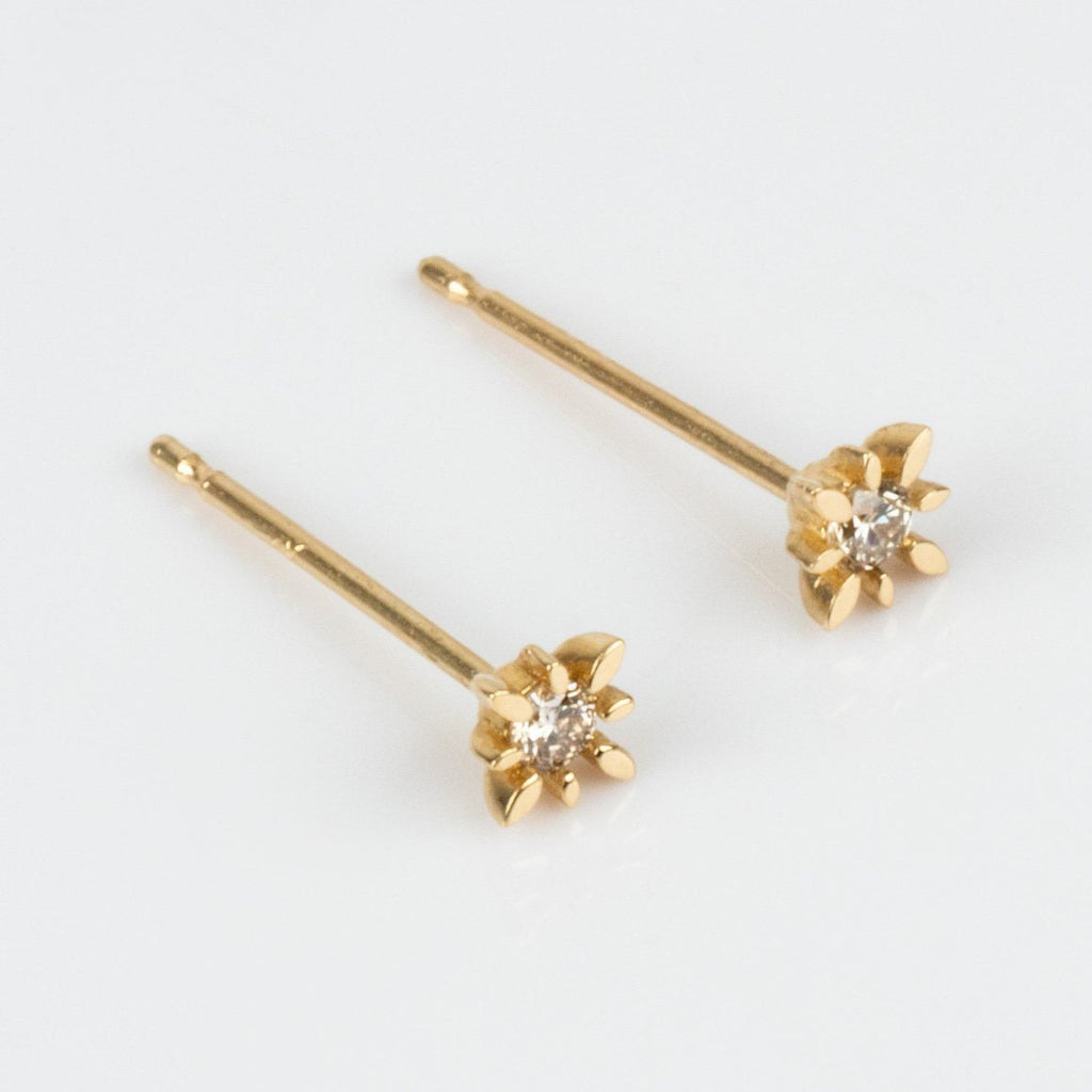 Solid Yellow Gold Diamond Stardust Inspired Stud Earrings Minimal Jurate