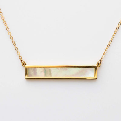 Mother of Pearl Yellow Gold Bar Necklace Chic Minimal Pendant Jurate