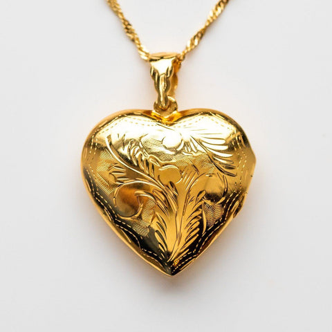 Large Yellow Gold Statement Heart Locket Engraved Jurate