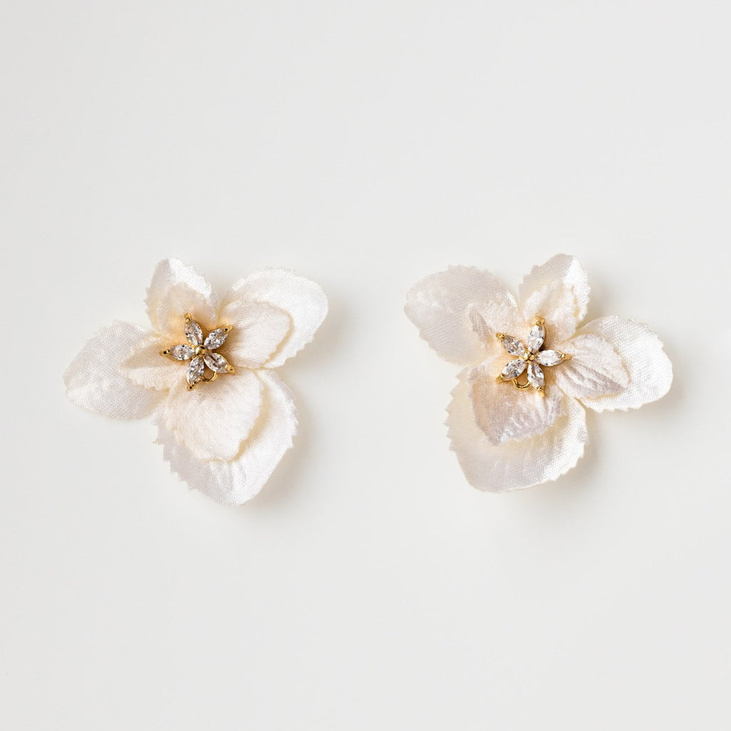 Silk Flower Petal Stud Earrings Feminine Soft Jewelry Kate + Mari