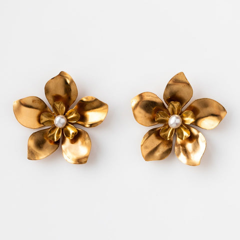 Large Brass Statement Stud Flower Crystal Kate + Mari