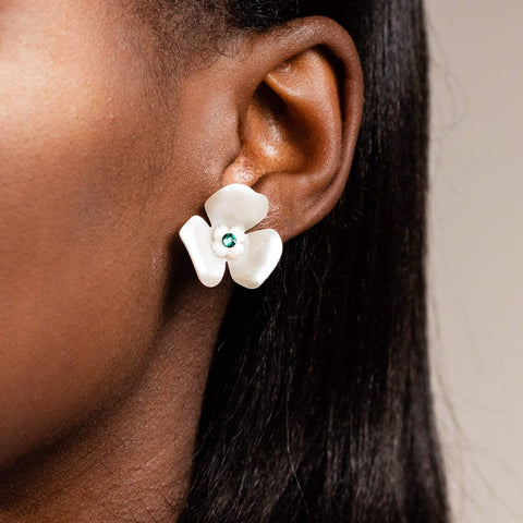 Mini Acetate Petal Floral Inspired Stud Earring Emerald Stone Kate + Mari