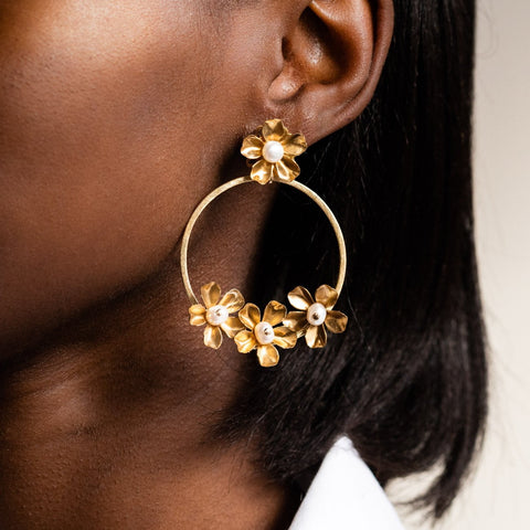 Mia Brass Hoops with Pearls