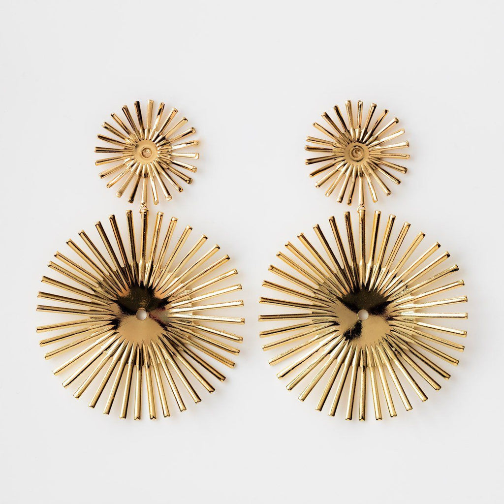Large Statement Earrings Disk Sun Inspired Yellow Gold Kate + Mari