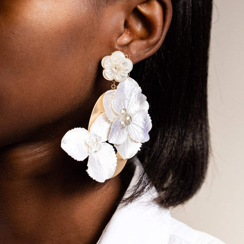 Mother of Pearl Statement Earrings Crystal Floral Kate + Mari