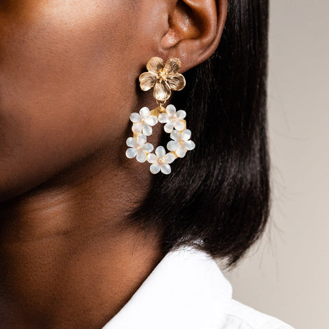 Mother of Pearl Floral Hoops Yellow Gold Statement Earrings Kate + Mari