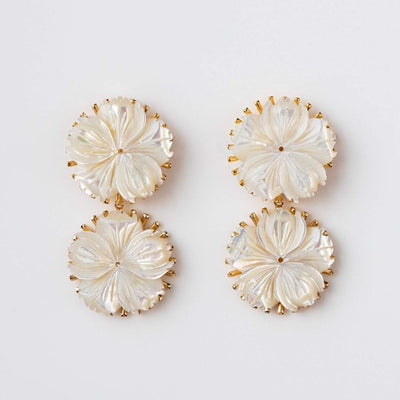 Mother of Pearl Lily Drop Statement Earrings Yellow Gold Kate + Mari