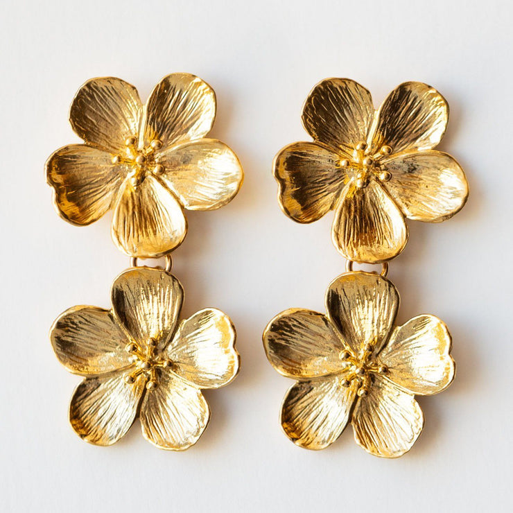 double flower statement floral earrings yellow gold modern jewelry