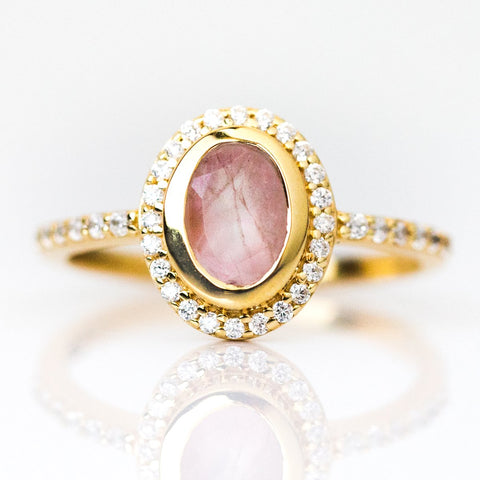 Cameo Ring with Rose Quartz - rings - Leah Alexandra local eclectic