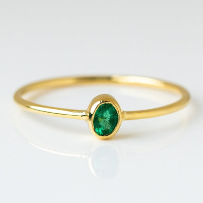 petite oval ring emerald yellow gold modern dainty jewelry