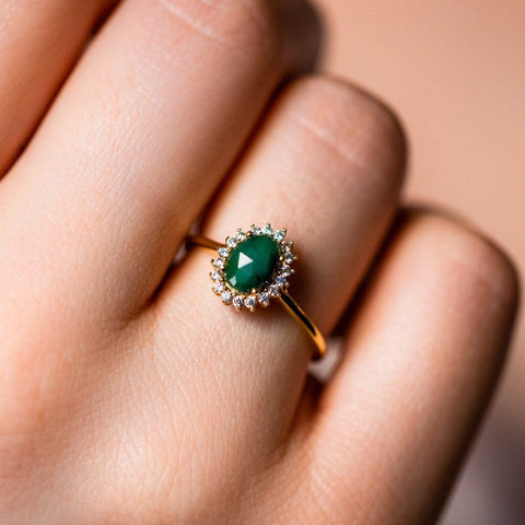 emerald antiquity ring unique yellow gold jewelry