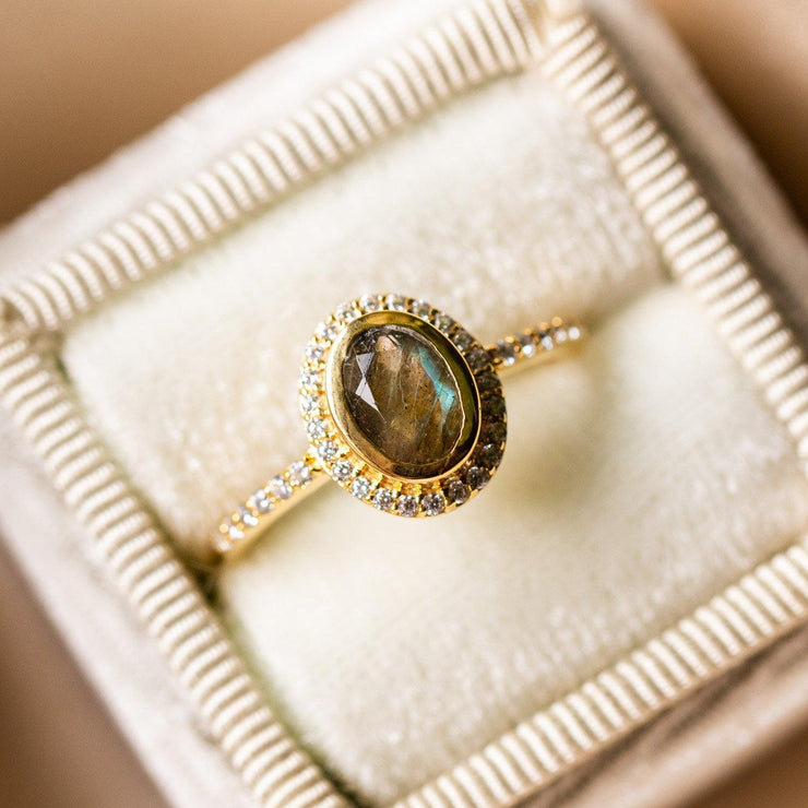 cameo ring with labradorite unique yellow gold statement ring