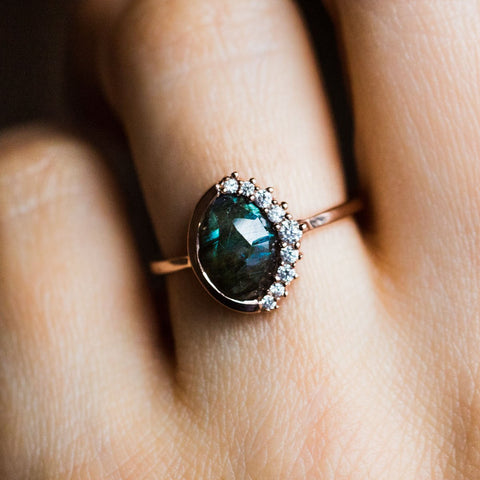 Anni Labradorite Pave Crescent Ring - rings - Leah Alexandra local eclectic